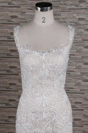 BMbridal Affordable Sleeveless Straps Champagne Wedding Dress Mermaid Lace Bridal Gowns With Appliques On Sale_4