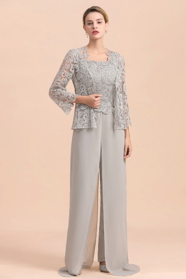 BMbridal Elegant Silver Lace Top Chiffon Mother of Bride Jumpsuit Online with Wrap_4