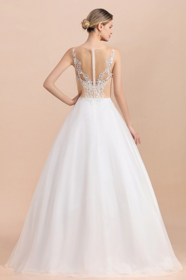 Gorgeous Tulle Lace V-Neck Sleeveless Wedding Dress Online_3