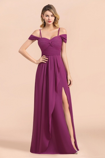 Gorgeous Off-the-Shoulder Ruffle Orchid Bridesmaid Dress Online with Slit_8