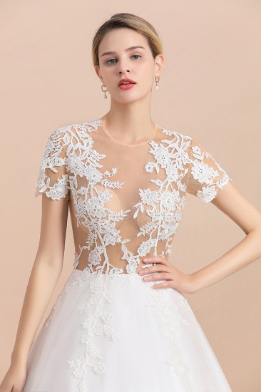 BMbridal Sexy See Through Tulle Appliques Short Sleeves Wedding Dress_8