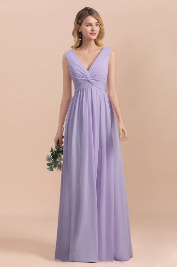 Gorgeous V-Neck Ruffle Lilac Chiffon Affordable Bridesmaid Dress with Ruffle_9