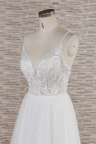 Glamorous V-neck Spaghetti Straps White Wedding Dresses A-line Sleeveless Tulle Lace Bridal Gowns Online_6
