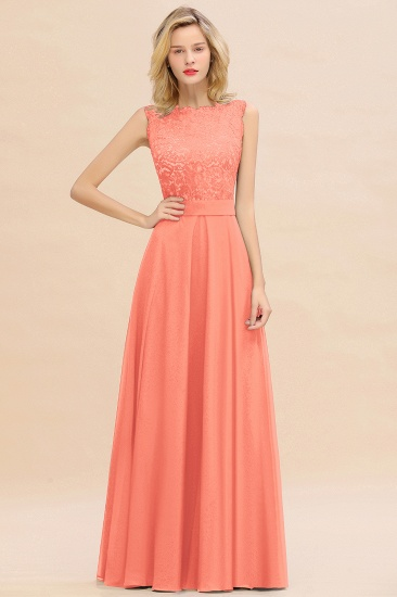 Exquisite Scoop Chiffon Lace Bridesmaid Dresses with V-Back_45