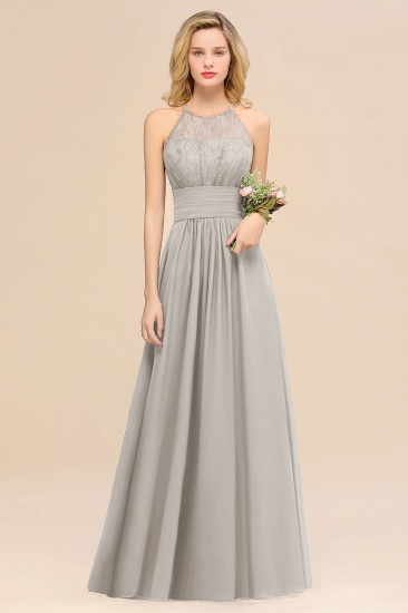 Elegant Halter Ruffles Sleeveless Grape Lace Bridesmaid Dresses Cheap_30