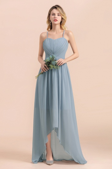 Gorgeous Hi-Lo Heart-Shaped Ruffle Bridesmaid Dress with Spaghetti Straps_4