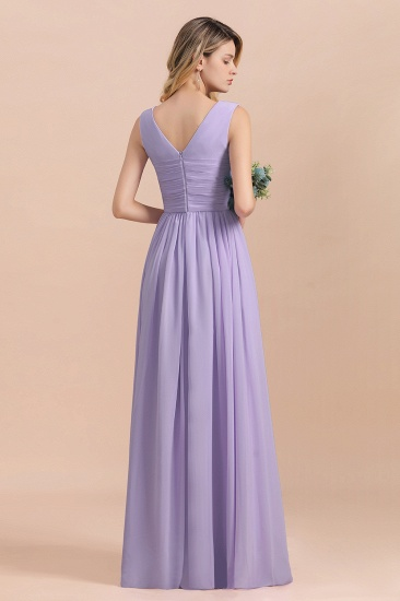 Gorgeous V-Neck Ruffle Lilac Chiffon Affordable Bridesmaid Dress with Ruffle_3