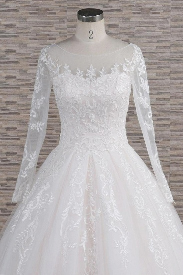 BMbridal Chic Longsleeves Jewel Tulle Wedding Dresses A-line Bridal Gowns With Appliques Online_5