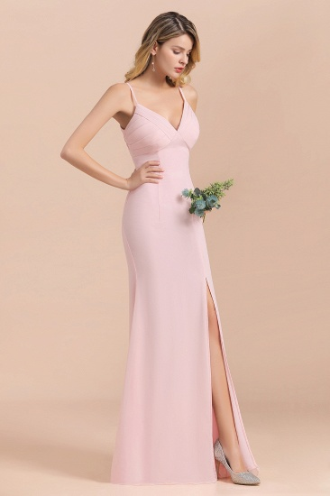 Affordable Sheath V-Neck Blushing Pink Chiffon Bridesmaid Dress with Spaghetii Straps_6