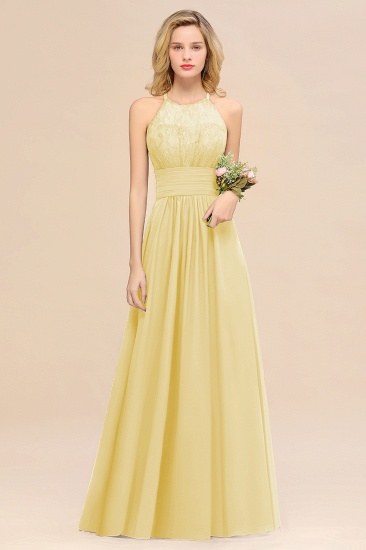 Elegant Halter Ruffles Sleeveless Grape Lace Bridesmaid Dresses Cheap_18