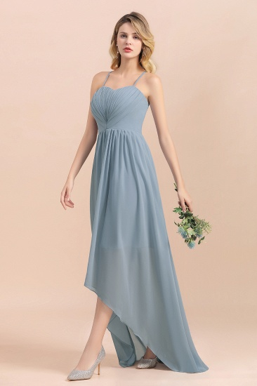 Gorgeous Hi-Lo Heart-Shaped Ruffle Bridesmaid Dress with Spaghetti Straps_8