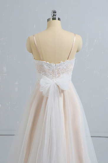 Stylish Spaghetti Straps Sleeveless Lace Wedding Dresses Champgne A-line Ruffles Bridal Gowns On Sale_5