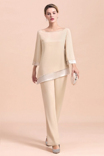 BMbridal Chic Round-Neck Champagne Chiffon Mother of Bride Jumpsuit Online_4