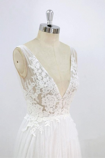 BMbridal Sexy V-neck Sleeveless Straps Wedding Dresses White Tulle Ruffles Lace Bridal Gowns Online_6