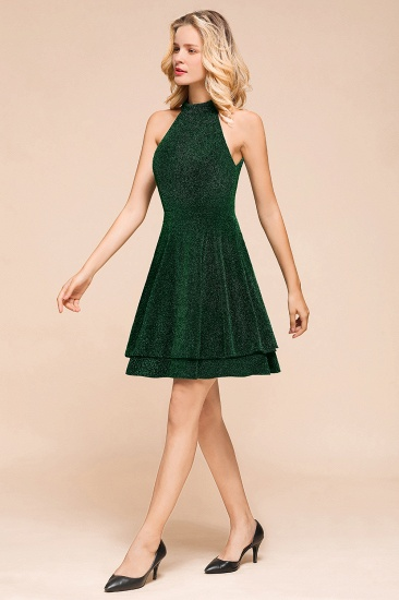 BMbridal Green Shinning Halter Short Prom Dress Mini Party Gowns_5