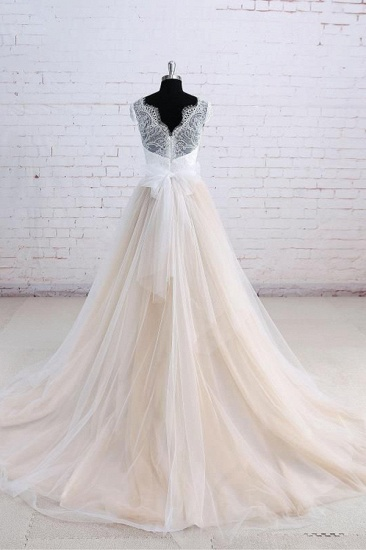 Affordable Shortsleeves Straps V-neck Wedding Dress Tulle Ruffles Bridal Gowns On Sale_3