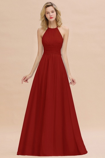 Glamorous Halter Backless Long Affordable Bridesmaid Dresses with Ruffle_48