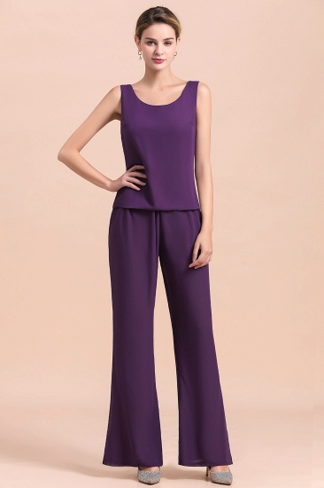 Affordable Straps Beading Grape Chiffon Mother of Bride Jumpsuit Online with Wrap_12