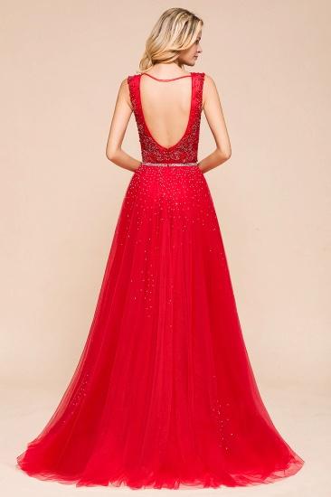 Detachable Red V-Neck Long Prom Dress Sleeveless Beadings Tulle Evening Gowns_3