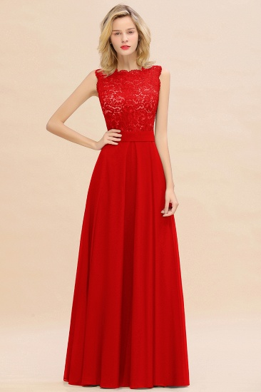 Exquisite Scoop Chiffon Lace Bridesmaid Dresses with V-Back_8