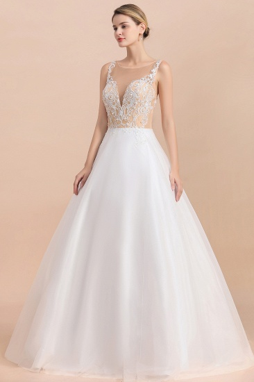 Gorgeous Tulle Lace V-Neck Sleeveless Wedding Dress Online_8