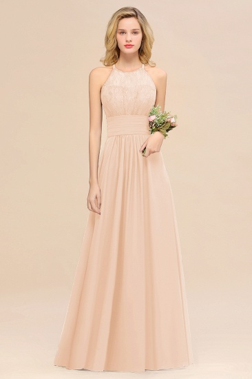 Elegant Halter Ruffles Sleeveless Grape Lace Bridesmaid Dresses Cheap_5