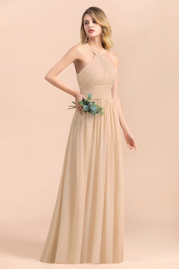 Gorgeous Straps Sleeveless Champagne Chiffon Affordable Bridesmaid Dresses Online with Ruffle_7