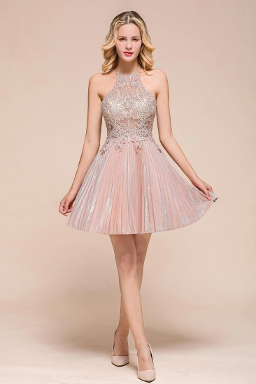 Lovely Halter Lace Short Prom Dress Sleeveless Mini Party Gowns