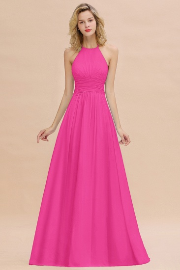 Glamorous Halter Backless Long Affordable Bridesmaid Dresses with Ruffle_9