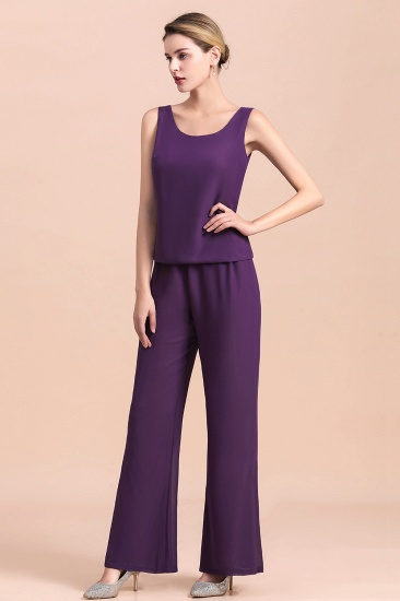 Affordable Straps Beading Grape Chiffon Mother of Bride Jumpsuit Online with Wrap_11