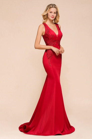 Gorgeous Red Mermaid V-Neck Prom Dress Long With Lace Appliques Online_7
