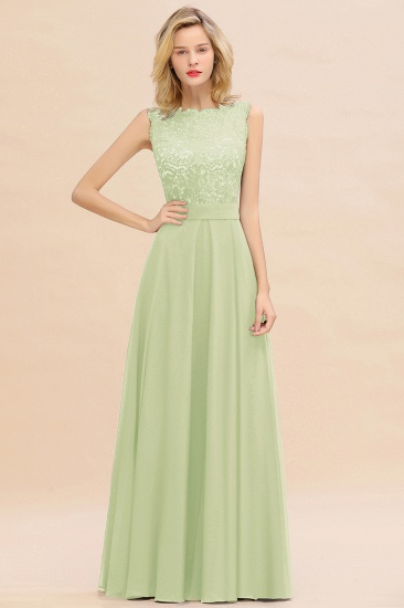 Exquisite Scoop Chiffon Lace Bridesmaid Dresses with V-Back_35