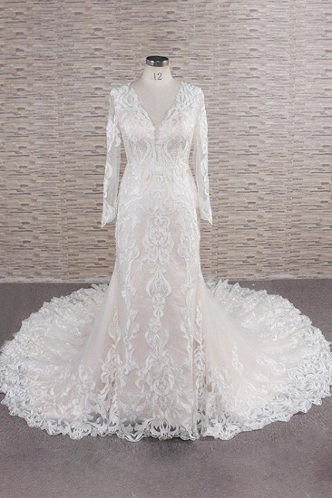 BMbridal Gorgeous Longsleeves V-neck Mermaid Wedding Dresses White Lace Bridal Gowns With Appliques On Sale_1