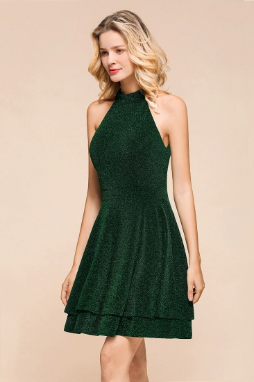 BMbridal Green Shinning Halter Short Prom Dress Mini Party Gowns_7