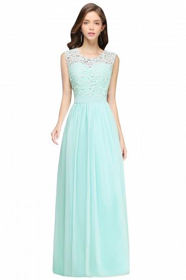 BMbridal Elegant Sheath Crew Sleeveless Lace Top Chiffon Bridesmaid Dress_4
