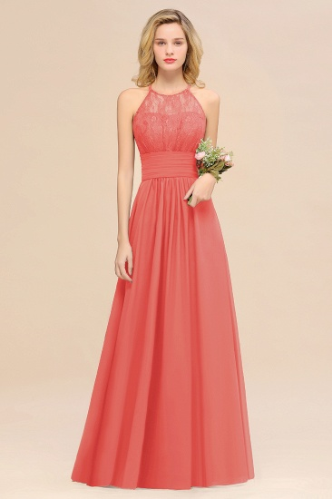 Elegant Halter Ruffles Sleeveless Grape Lace Bridesmaid Dresses Cheap_7