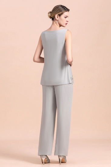 BMbridal Elegant Sleeveless Appliques Silver Chiffon Mother of Bride Jumpsuit with Wrap_6