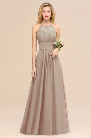Elegant Halter Ruffles Sleeveless Grape Lace Bridesmaid Dresses Cheap_16
