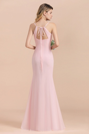 Affordable Sheath V-Neck Blushing Pink Chiffon Bridesmaid Dress with Spaghetii Straps_3