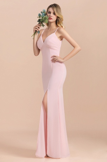 Affordable Sheath V-Neck Blushing Pink Chiffon Bridesmaid Dress with Spaghetii Straps_9