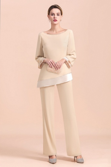 BMbridal Chic Round-Neck Champagne Chiffon Mother of Bride Jumpsuit Online_6