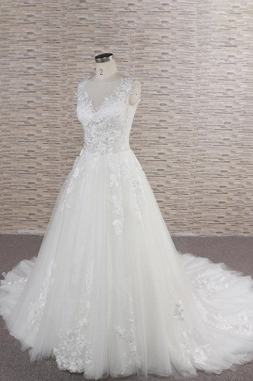 Gorgeous Sleeveless Jewel Tulle Wedding Dresses A-line Ruufles Lace Bridal Gowns With Appliques_4