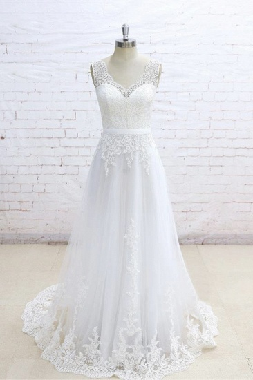 Stylish Sleeveless Straps V-neck Wedding Dresses White A-line Tulle Bridal Gowns With Appliques On Sale_1