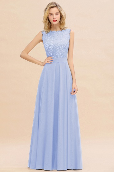 Exquisite Scoop Chiffon Lace Bridesmaid Dresses with V-Back_22
