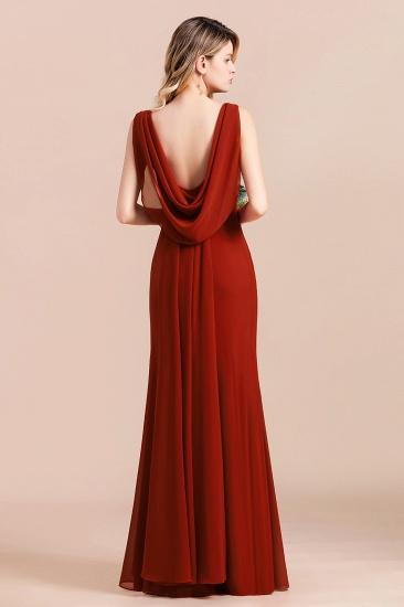 Charming Mermaid V-Neck Drapped Back Bridesmaid Dress Online_3