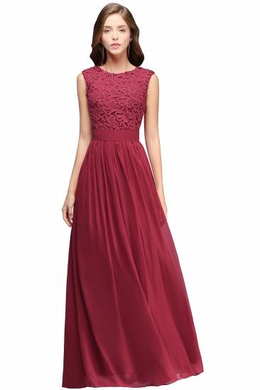 BMbridal Elegant Sheath Crew Sleeveless Lace Top Chiffon Bridesmaid Dress_2