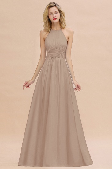 Glamorous Halter Backless Long Affordable Bridesmaid Dresses with Ruffle_16