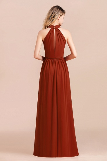 Rust Halter Long Bridesmaid Dresses Online With Front Split_3