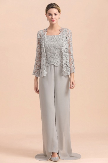 BMbridal Elegant Silver Lace Top Chiffon Mother of Bride Jumpsuit Online with Wrap_8