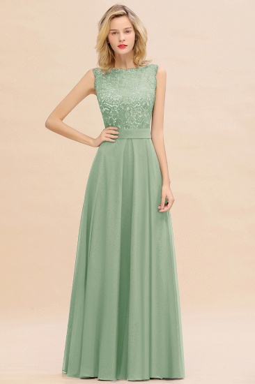 Exquisite Scoop Chiffon Lace Bridesmaid Dresses with V-Back_41